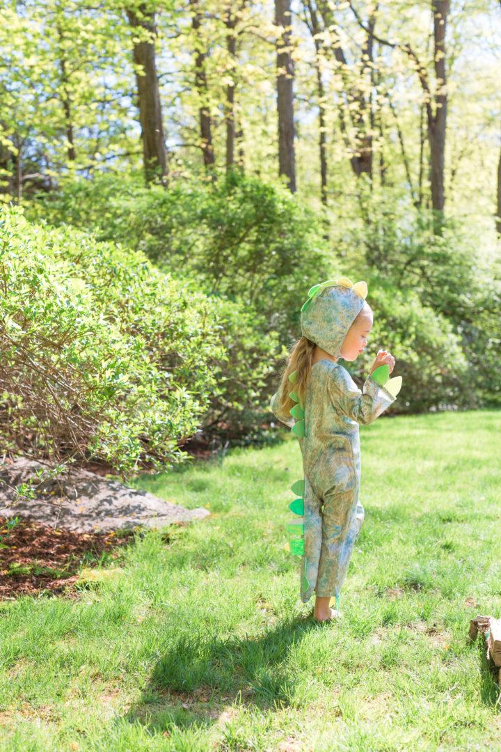 Eva Amurri Martino's daughter Marlowe wears a dinosaur costume