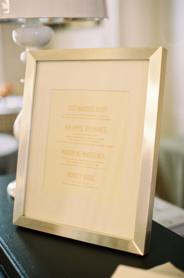 Drinks Menu from Eva Amurri Martino's Charleston wedding