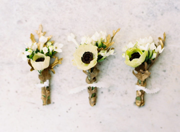 A closeup of Boutonnieres at Eva Amurri Martino's Charleston wedding