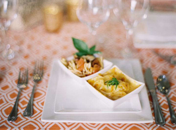 A closeup of the food at Eva Amurri Martino's Charleston wedding