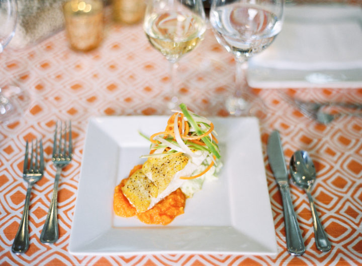 A closeup of the food at Eva Amurri Martino's Charleston wedding