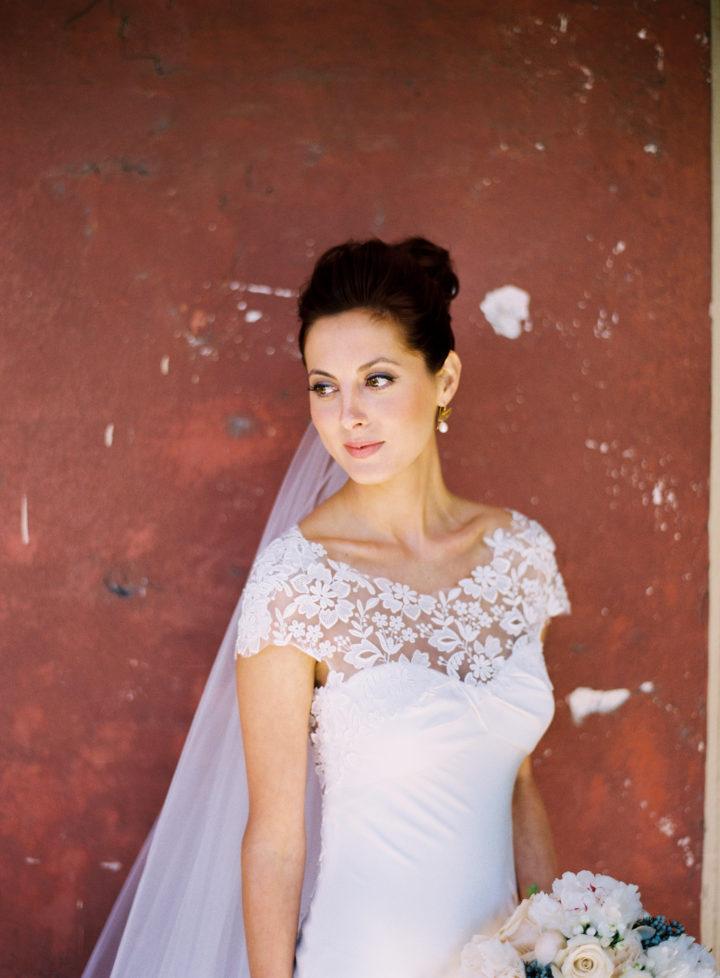 A portrait of bride Eva Amurri at her Charleston wedding to Kyle Martino