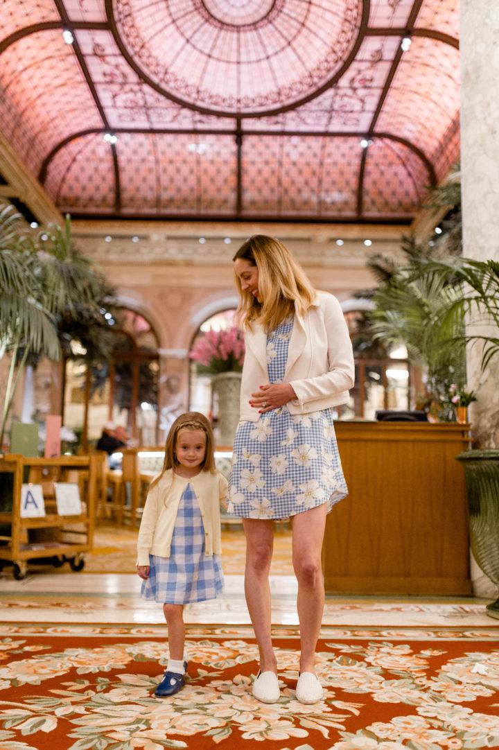 Eva Amurri Martino and her daughter Marlowe wear matching dresses at Plaza Hotel