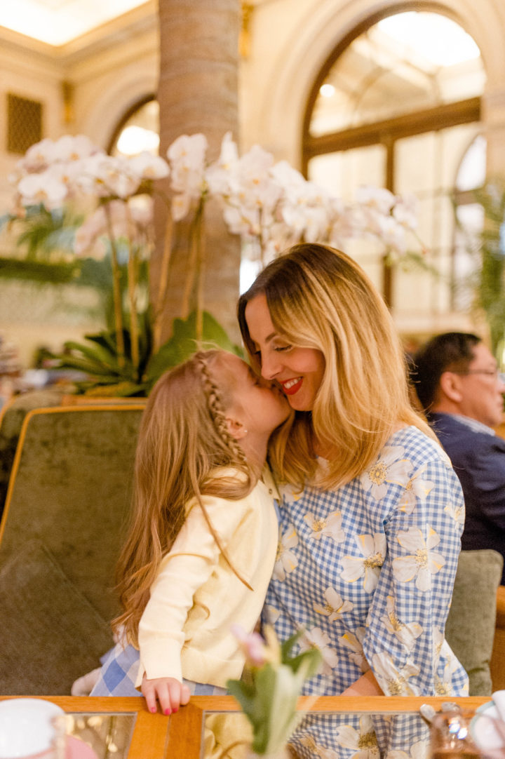 Eva Amurri Martino gets a sweet kiss from her daughter Marlowe at the Plaza Hotel in New York City