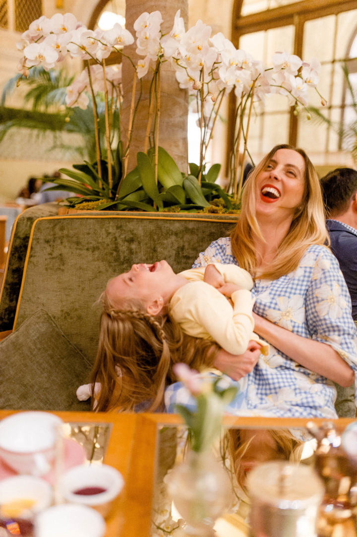 Eva Amurri Martino tickles her daughter Marlowe while they dine at the Plaza Hotel in New York City