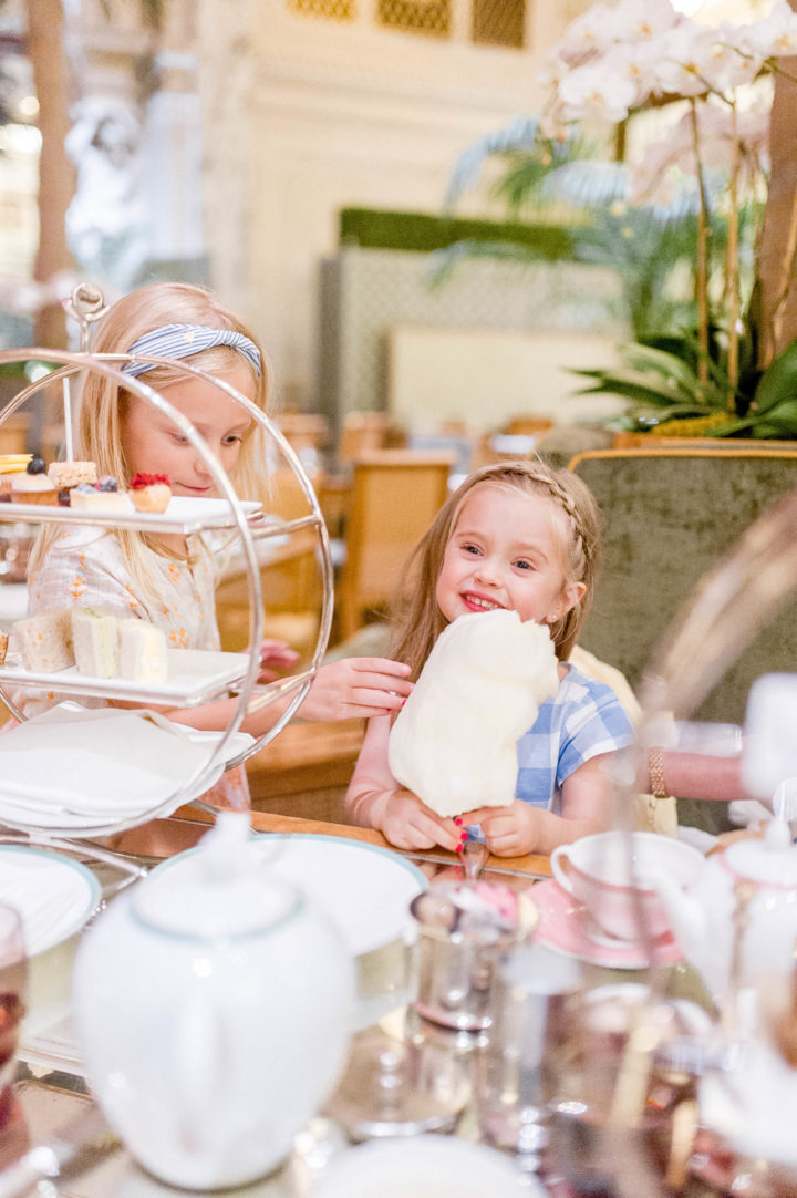Eva Amurri Martino's daughter Marlowe enjoys high tea with a friend at the Plaza Hotel in New York City