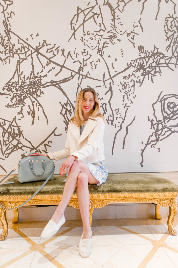 Eva Amurri Martino poses on a gilded bench at the Plaza Hotel in New York City