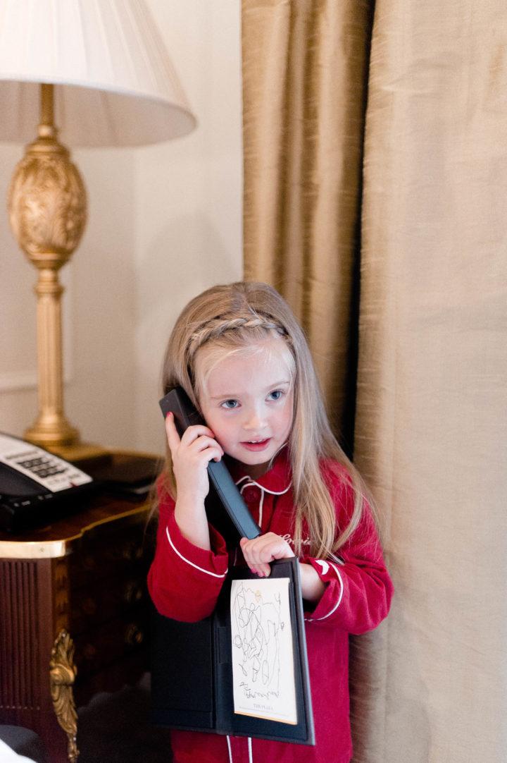 Eva Amurri Martino's daughter Marlowe orders room service at the Plaza Hotel