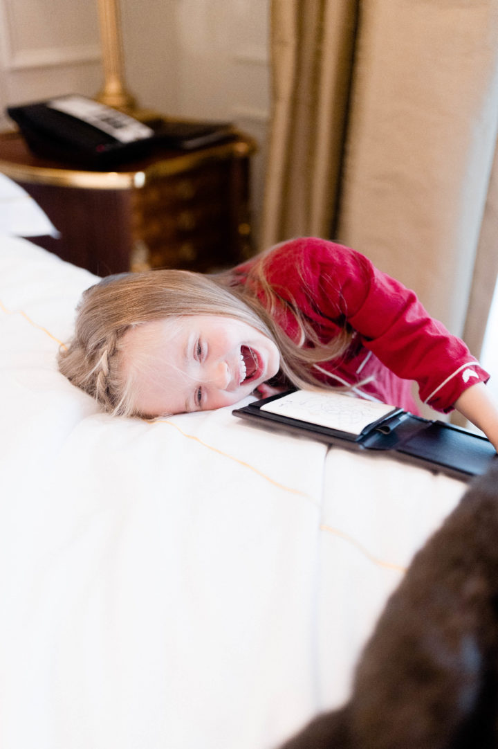 Eva Amurri Martino's daughter Marlowe laughs after ordering roomservice at the Plaza Hotel