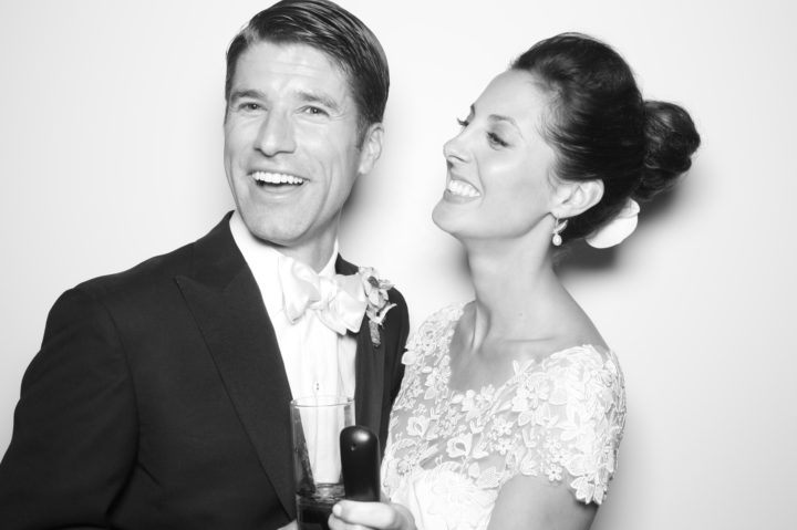 A black and white snapshot of Eva and Kyle Martino from their Charleston wedding
