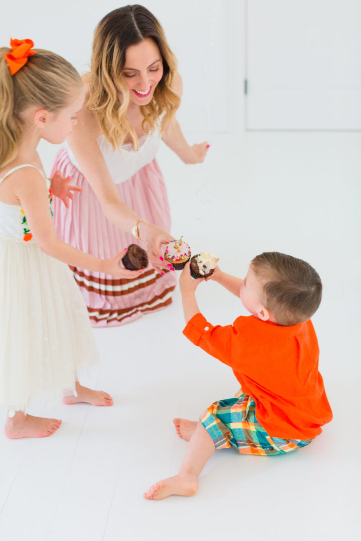 Eva Amurri Martino cheers her kids Marlow and Major with cupcakes to celebrate the 3rd birthday of her blog Happily Eva After
