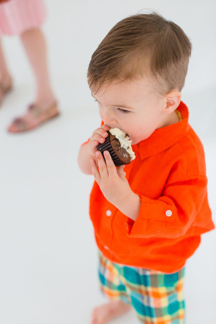 Eva Amurri Martino's son Major enjoys a delectable cupcake celebrating the 3rd birthday of his mom's blog Happily Eva After
