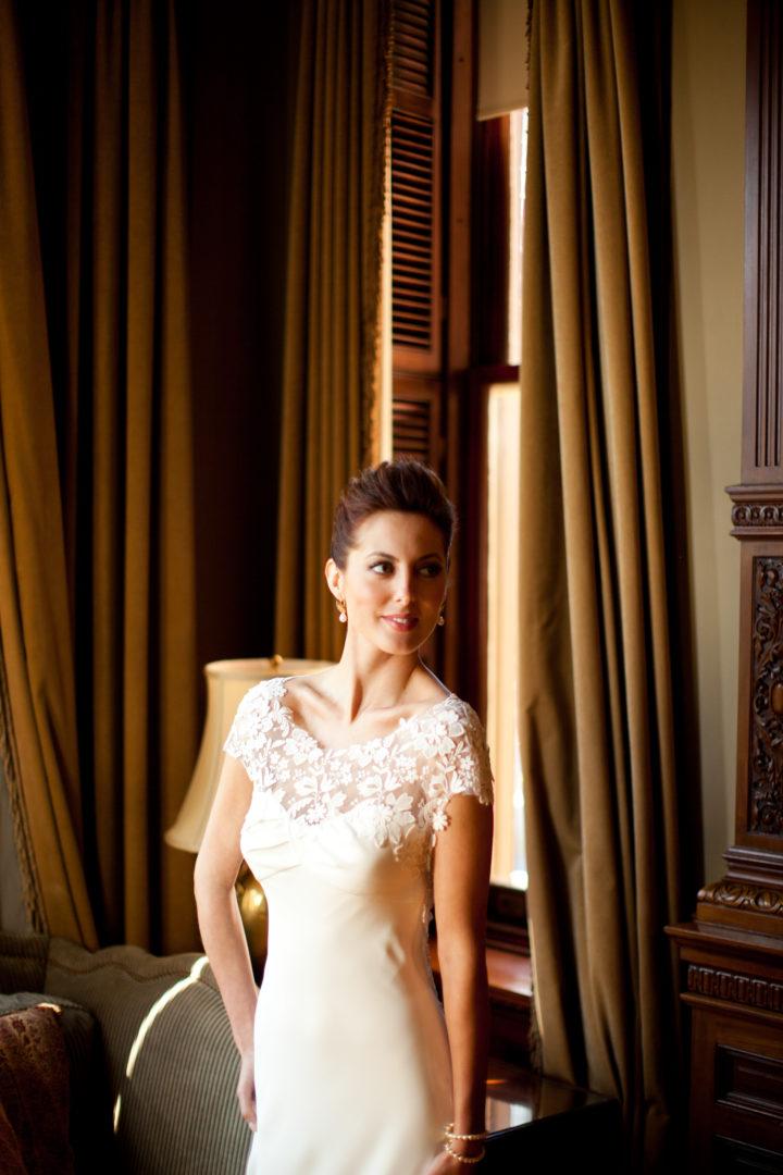 Eva Amurri Martino poses in her Lela Rose wedding gown