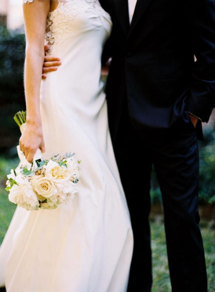 A closeup of the wedding style at Eva Amurri's Charleston wedding to Kyle Martino