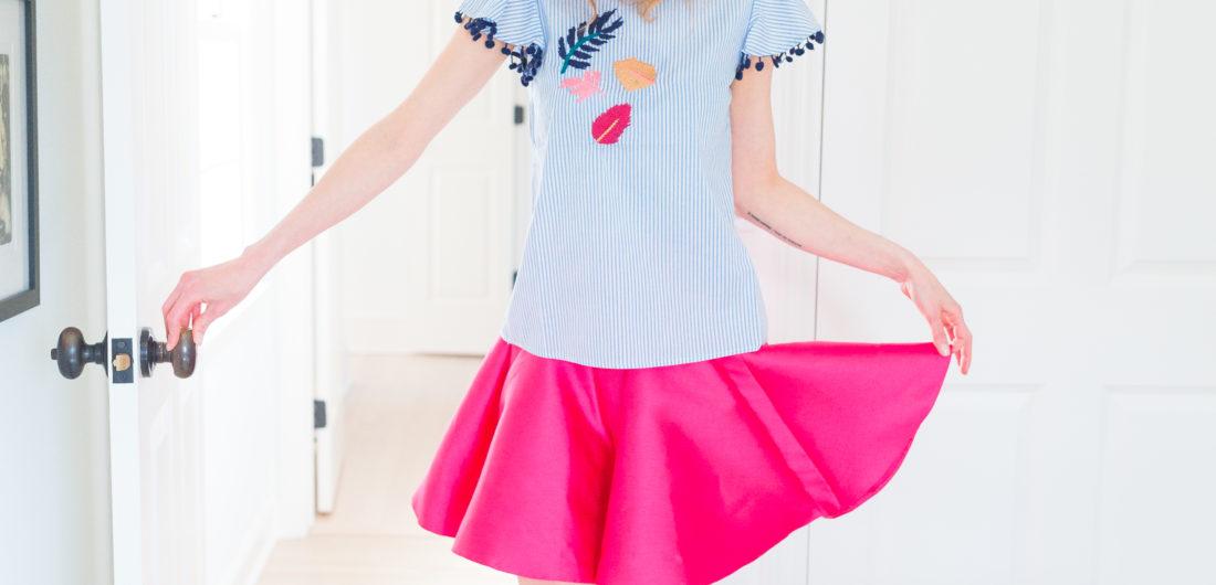 Eva Amurri Martino dons a summery pink skirt