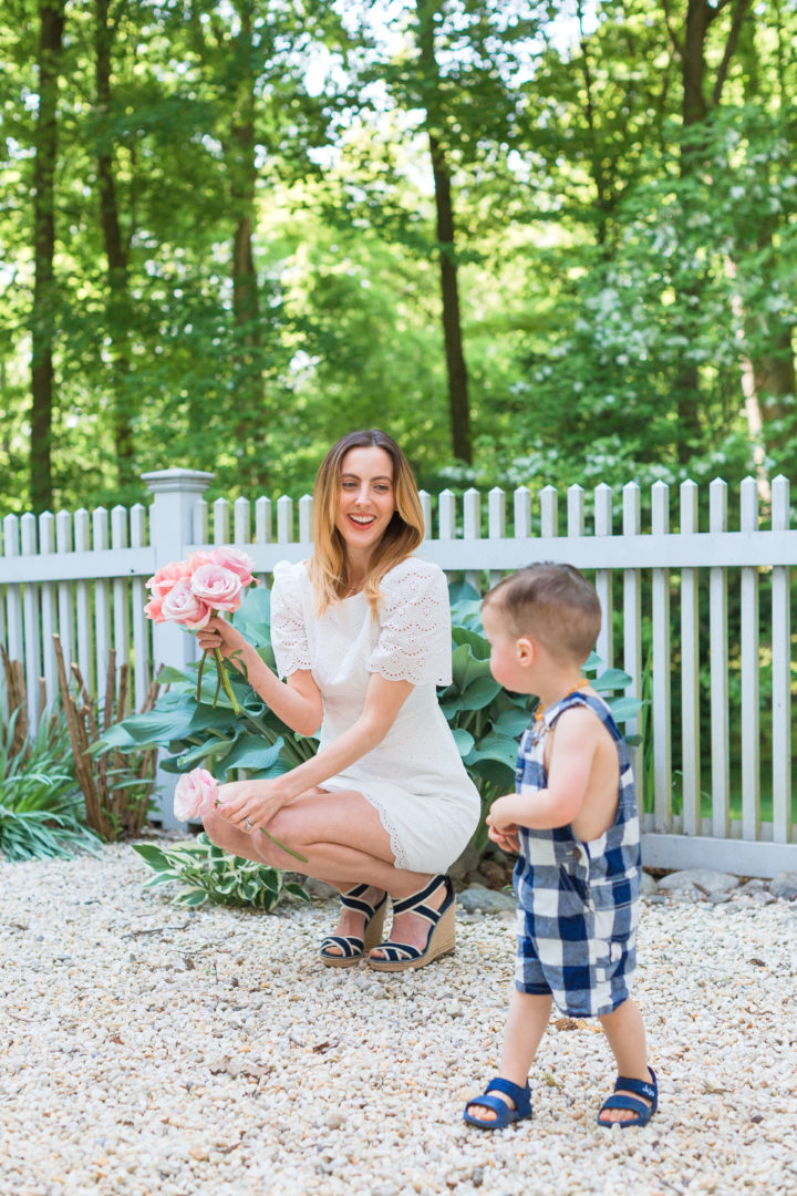 Eva Amurri Martino poses with her son Major in their garden in Connecticut.