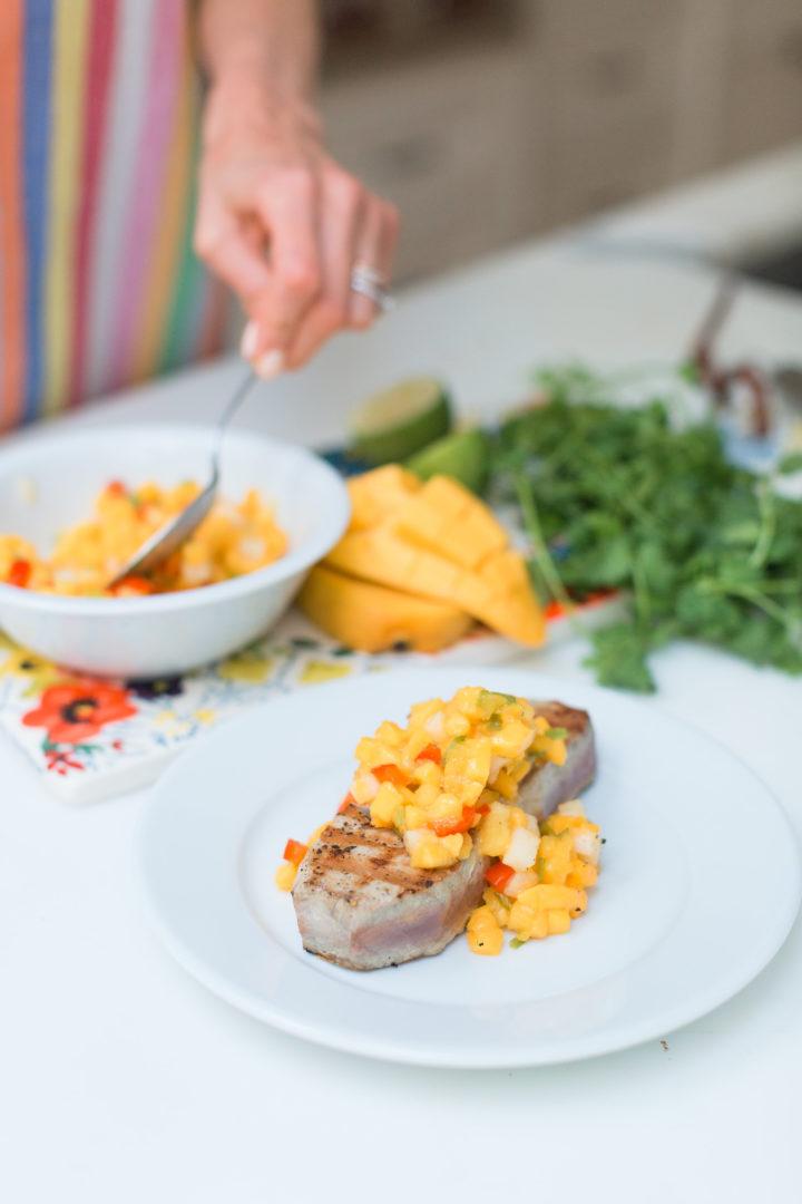 A closeup of Eva Amurri Martino's grilled tuna with mango salsa