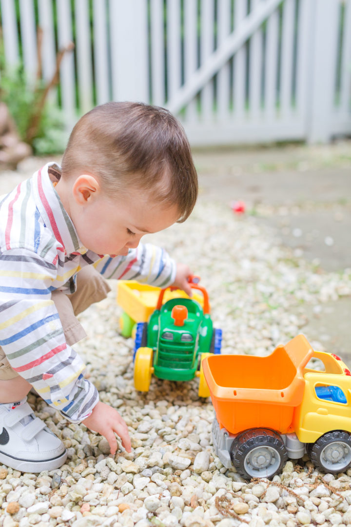 Eva Amurri Martino's son Major plays with trucks in his backyard in Connecticut