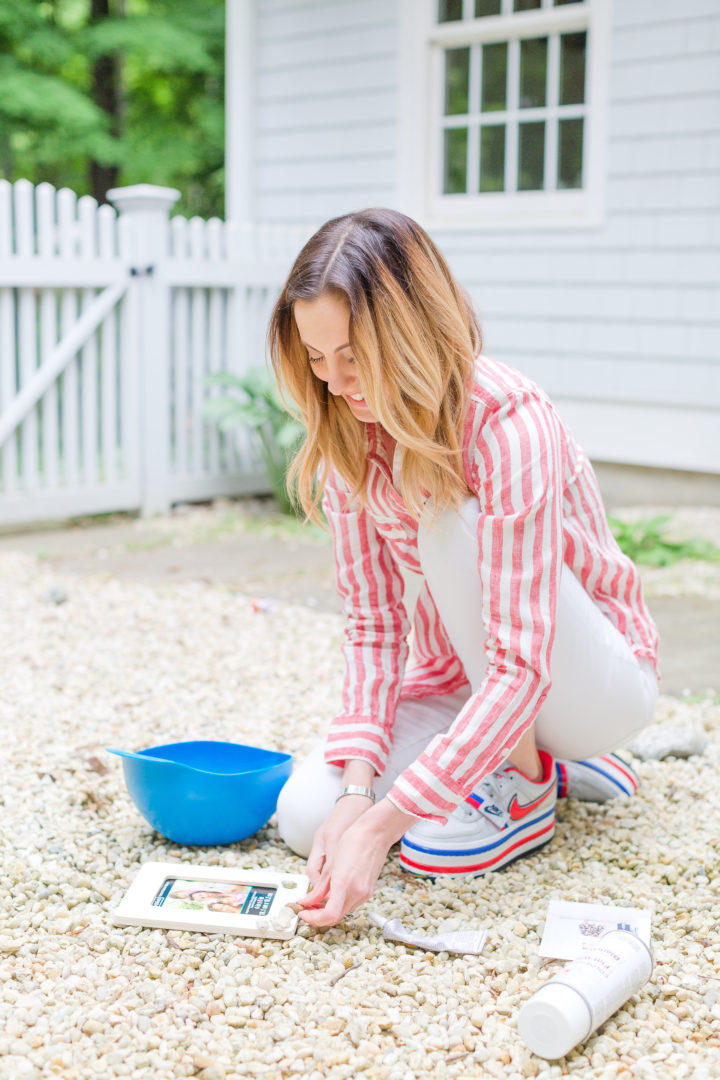 Eva Amurri Martino collect rocks from her yard in Connecticut