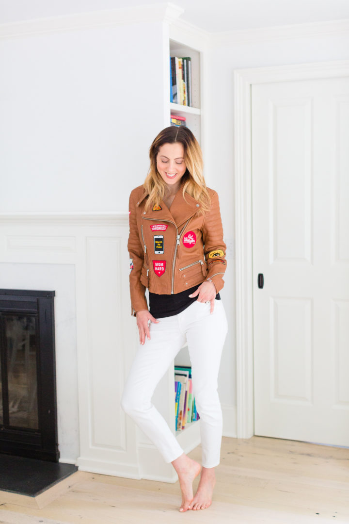 Eva Amurri Martino shows off her Red Baron leather jacket