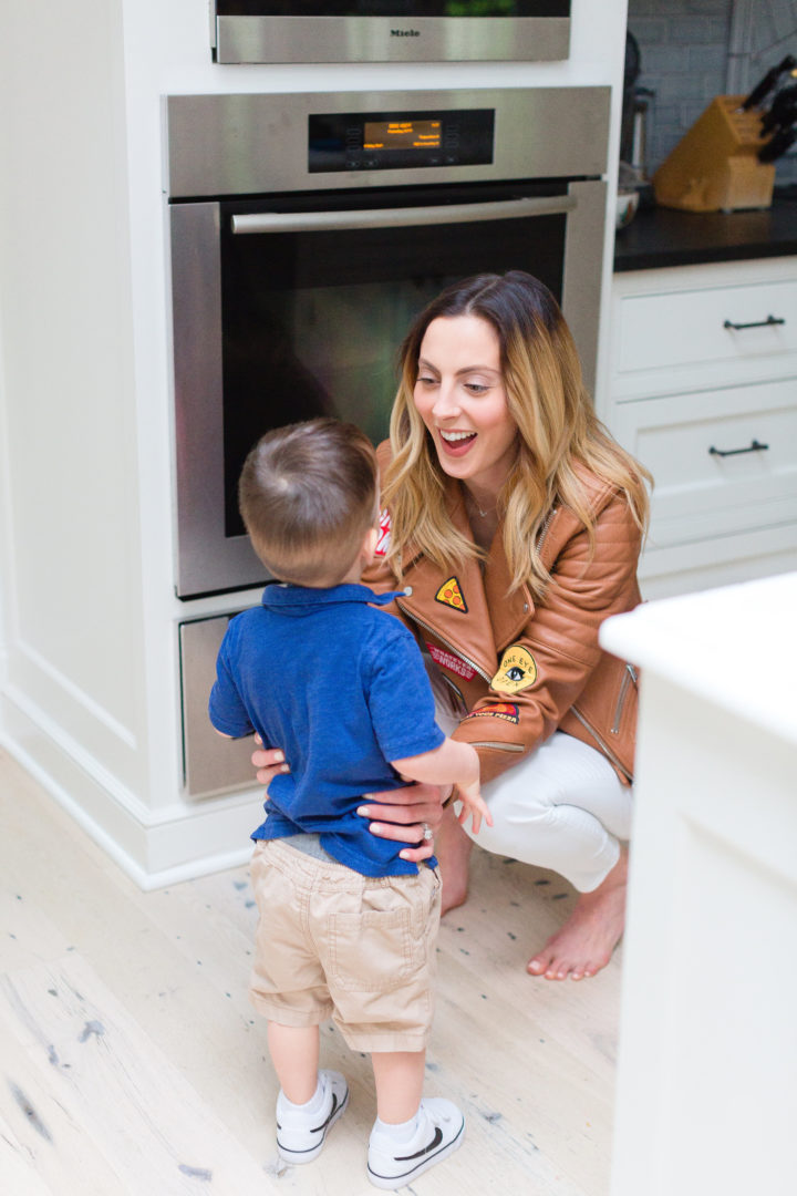 Eva Amurri Martino talking to son Major at their house in Connecticut.