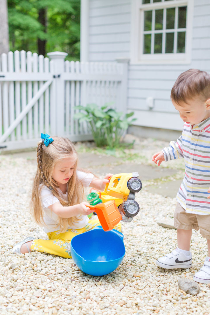 Eva Amurri Martino's kids Marlowe and Major play with toys in their yard in Connecticut