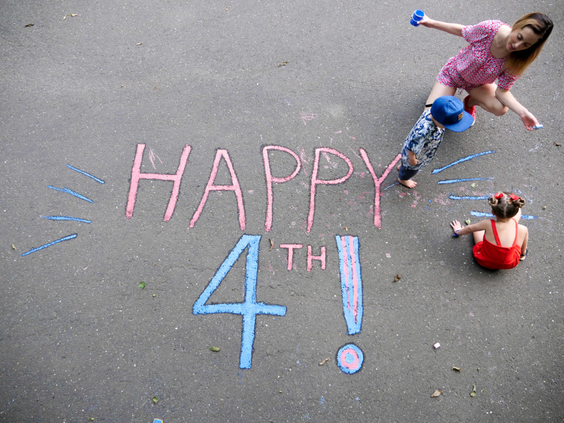 Eva Amurri Martino decorates her driveway for the fourth of july with her children Marlowe and Major