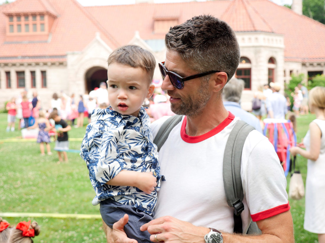 Major Martino and Kyle Martino wear red white and blue on the fourth of july in Connecticut