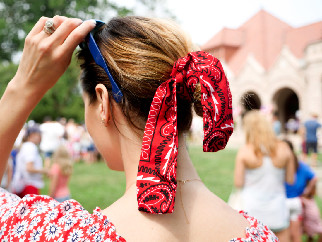 Eva Amurri Martino ties a red bandana around her bun on the fourth of july