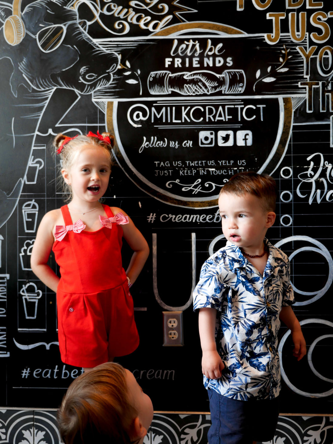 Marlowe and Major Martino get ready to have ice cream at Milkbar in Connecticut on the Fourth of july