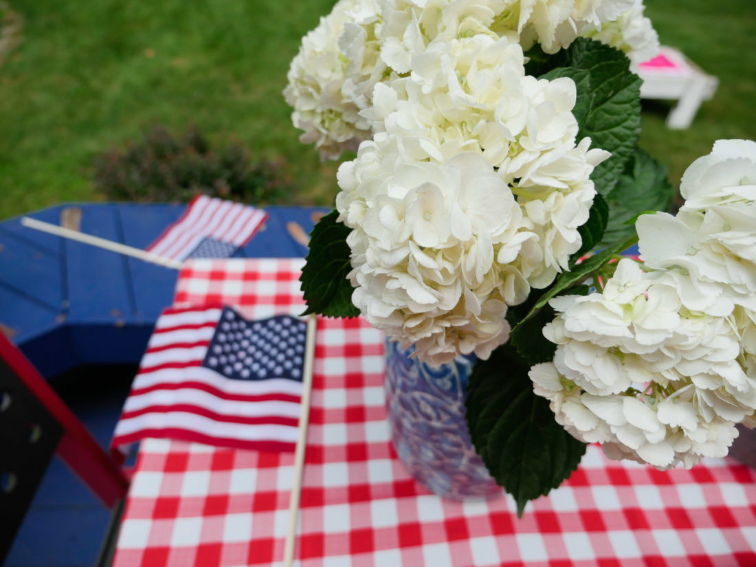 A garden party setup on the fourth of July