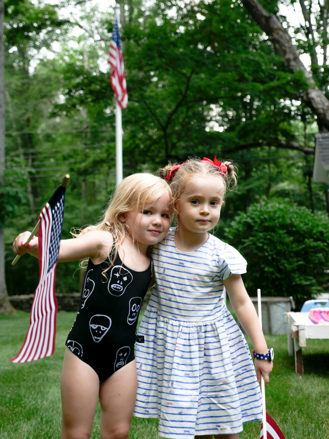Marlowe Martino poses with a friend at a fourth of july party