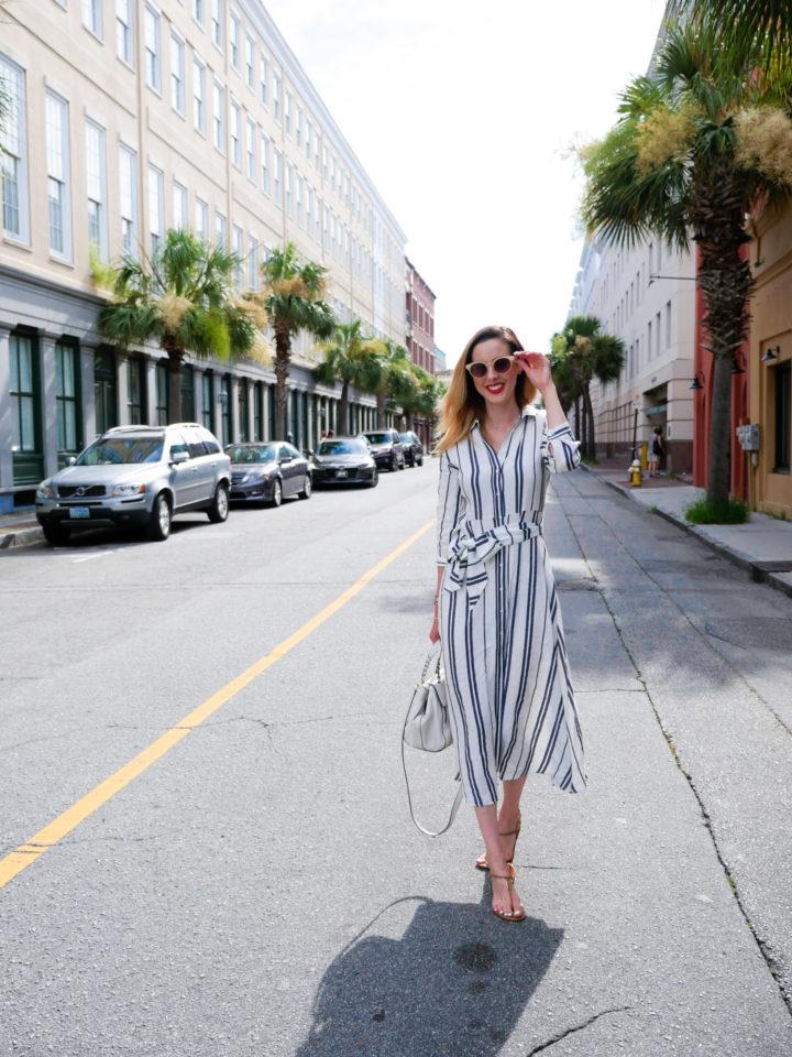 Eva Amurri Martino wears a striped sundress in Charleston
