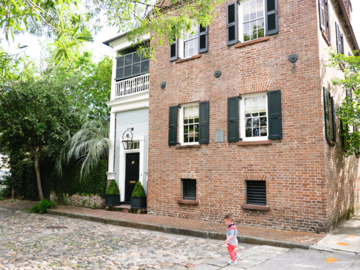 Eva Amurri Martino's son Major walks down a Charleston cobblestone road