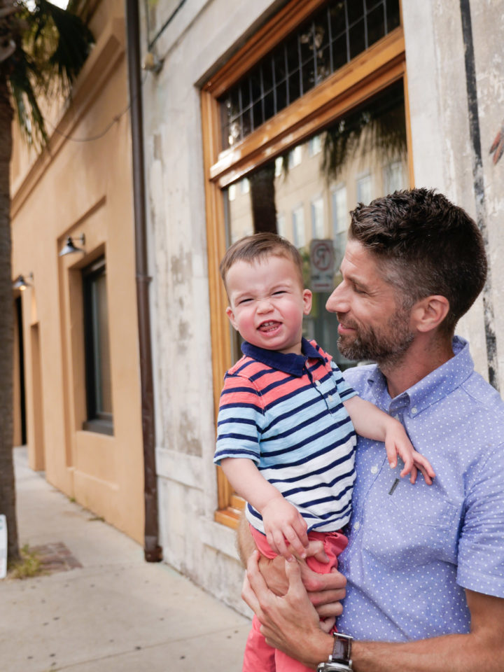 Eva Amurri Martino's husband Kyle and son Major smiling in Charleston