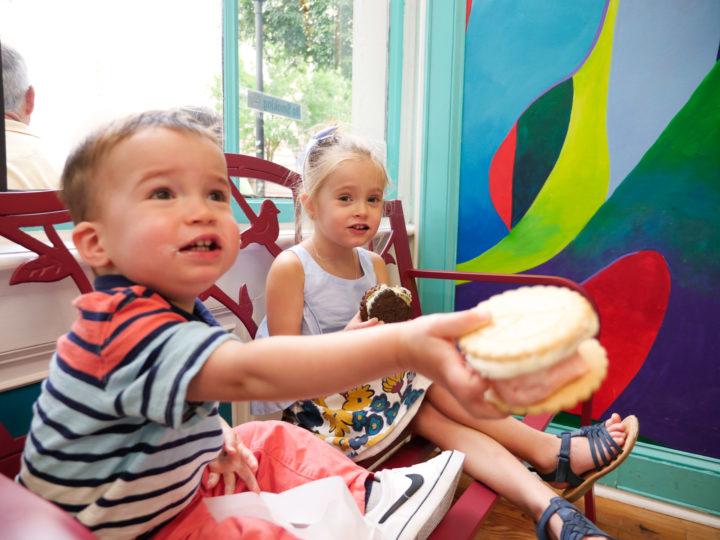 Eva Amurri Martino's son Major and daughter Marlowe enjoying ice cream sandwiches in Charleston