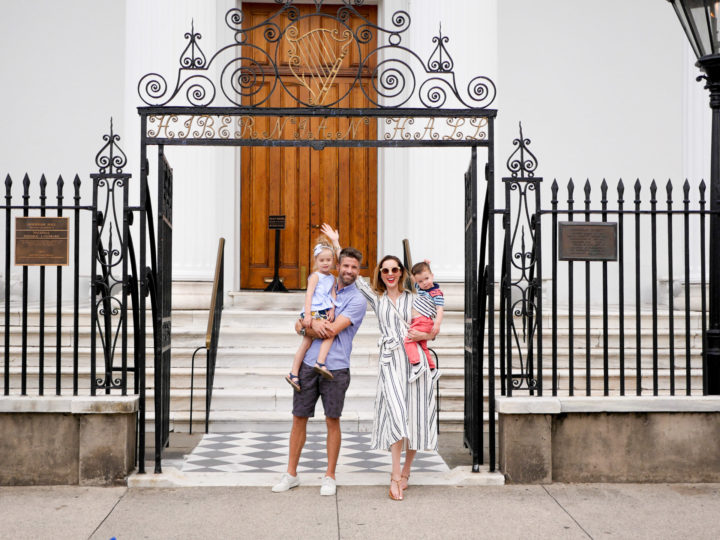 The Martino's pose in front of the church Eva and Kyle were married in Charleston in 2011.
