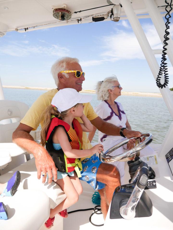 Eva Amurri Martino's daughter Marlowe on a boat with her grandparents in Charleston