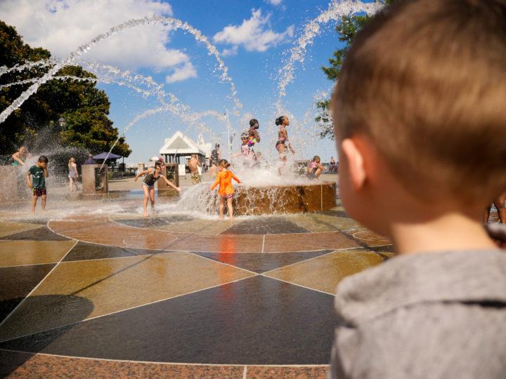 Eva Amurri Martino's daughter Marlowe running through the sprinklers in Charleston