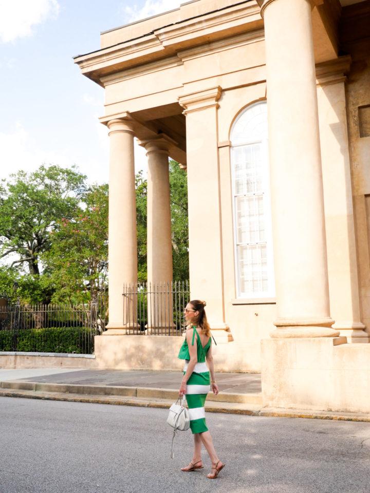 Eva Amurri Martino wears a bright green dress in Charleston