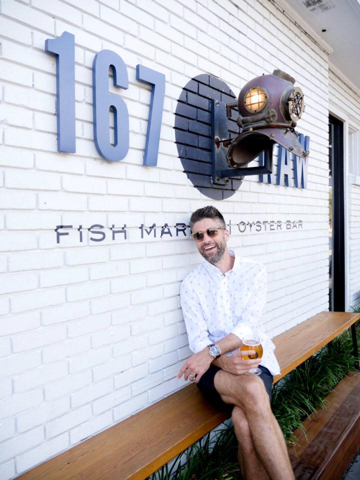 Eva Amurri Martino's husband Kyle poses in front of RAW 167 in Charleston