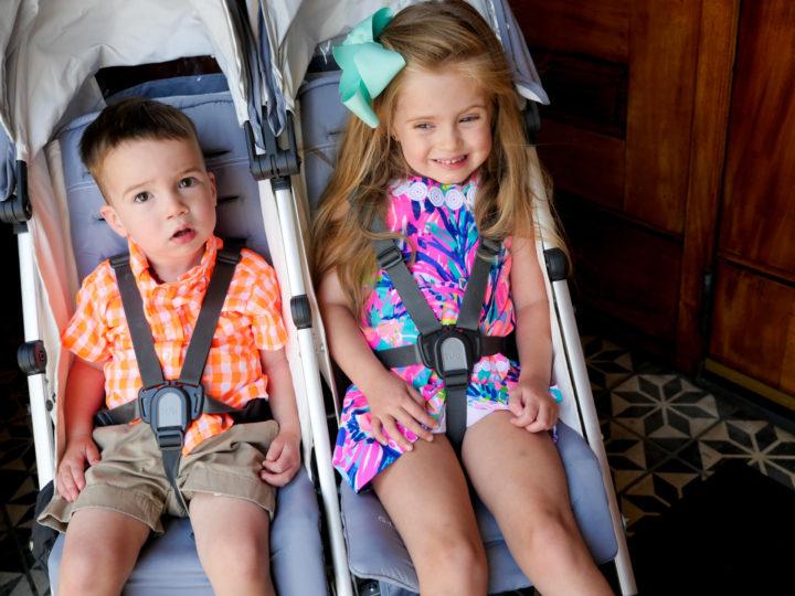 Eva Amurri Martino's kids Marlowe and Major sit in a stroller in Charleston