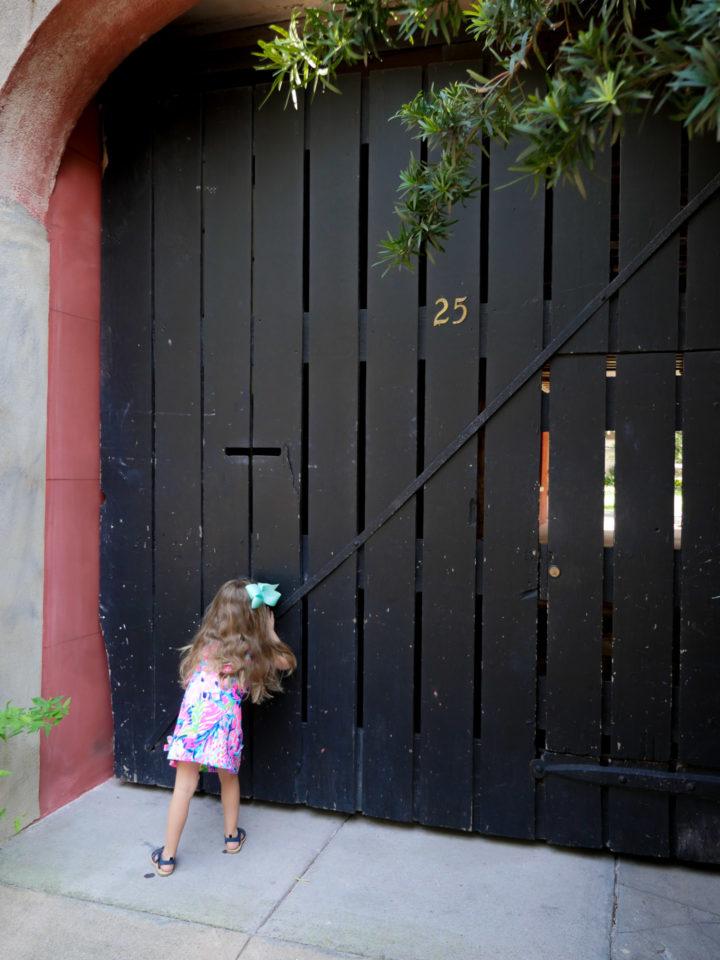 Eva Amurri Martino's daughter Marlowe peers through a slotted gate in Charleston
