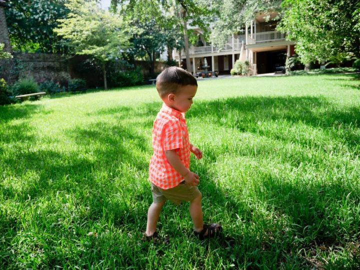 Eva Amurri Martino's son Major walks on the grass in Charleston