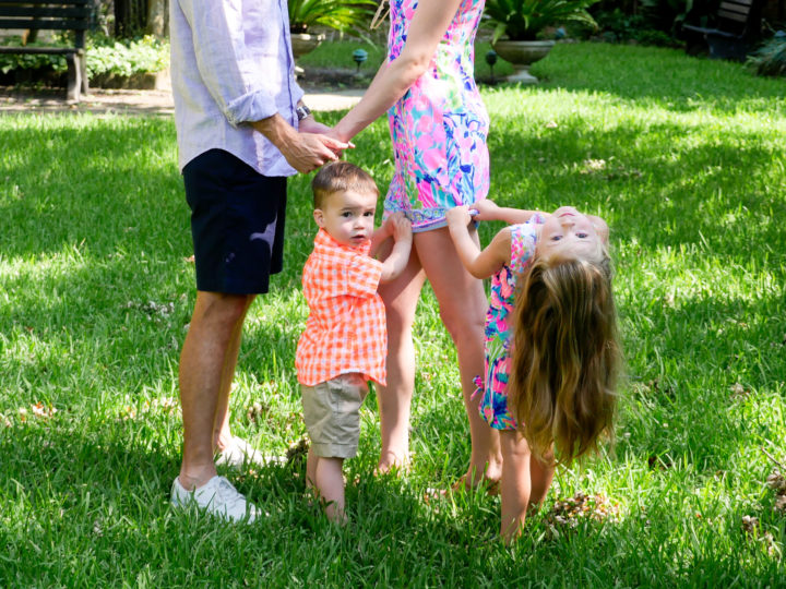 Eva Amurri Martino's son Major and daughter Marlowe pull onto their parents as they have a moment at the site of their 2011 wedding in Charleston.