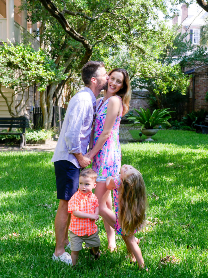 Eva Amurri Martino gets a sweet kiss from her husband Kyle while her daughter Marlowe and son Major look on at the site of their 2011 wedding in Charleston