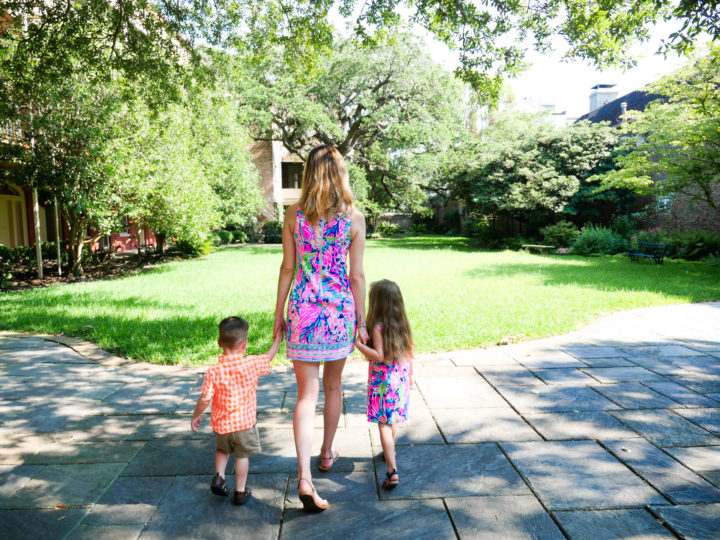 Eva Amurri Martino walks through the site of her 2011 wedding to Kyle Martino with their two children Marlowe and Major