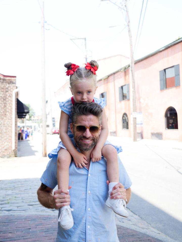 Eva Amurri Martino's husband Kyle carries their daughter Marlowe on his shoulders in Charleston
