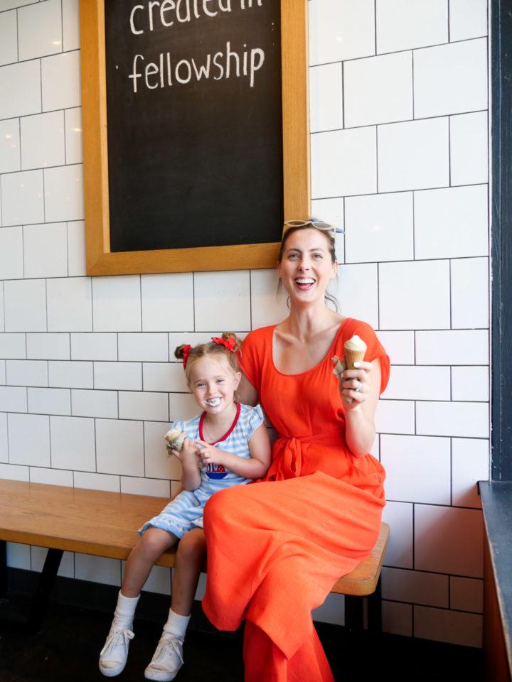 Eva Amurri Martino poses with her daughter Marlowe in Charleston while eating ice cream
