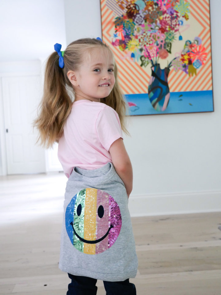 Eva Amurri Martino's daughter Marlowe wears a smiley sweatshirt from Gymboree